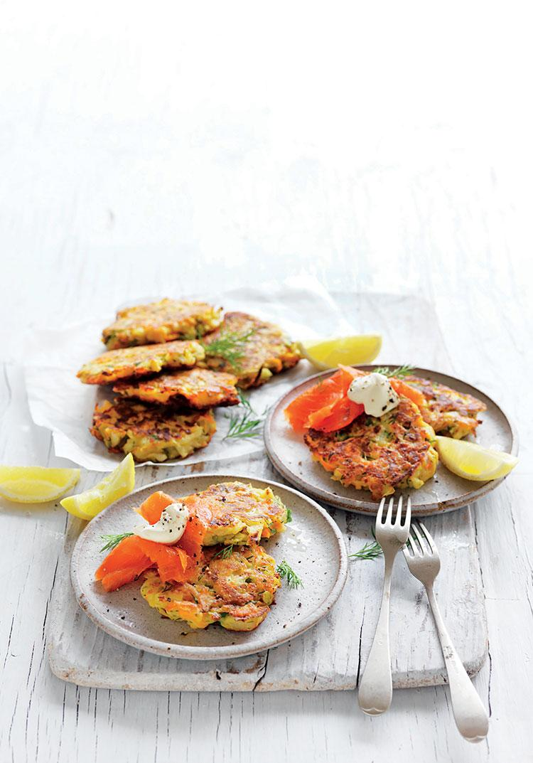 Kohlrabi & haloumi fritters with smoked salmon