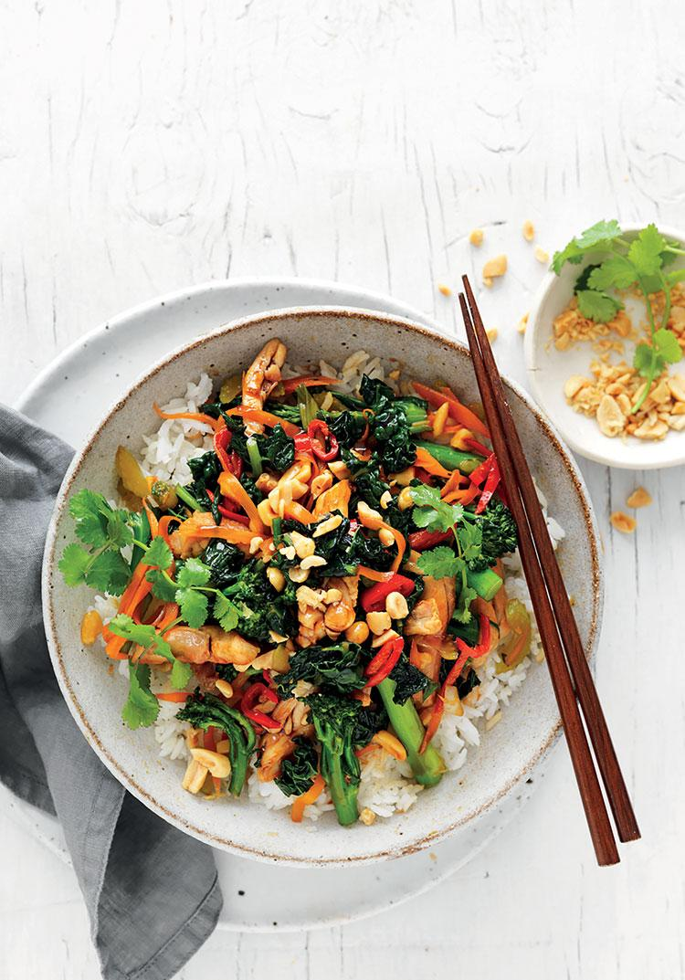 Stir-fried greens & chicken with sweet soy & peanuts