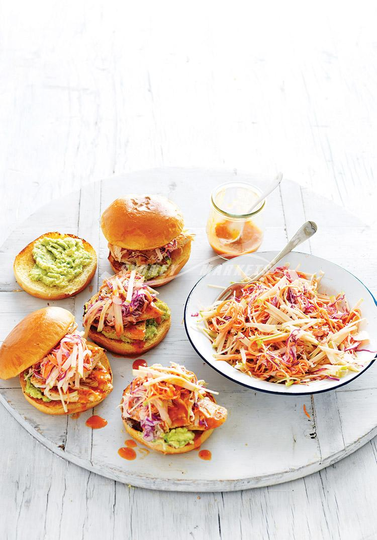 Apple coleslaw & peri peri chicken burgers