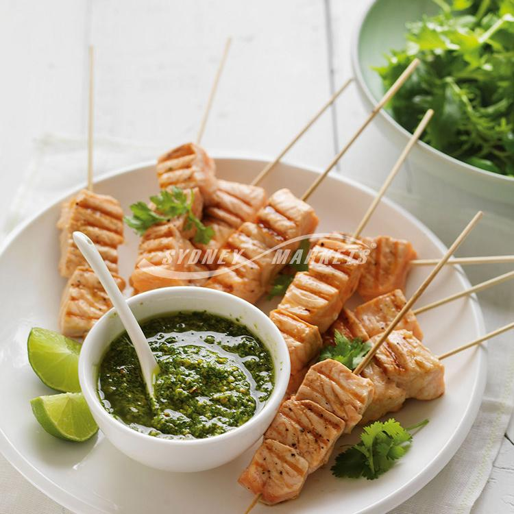 Asian coriander pesto with salmon kebabs
