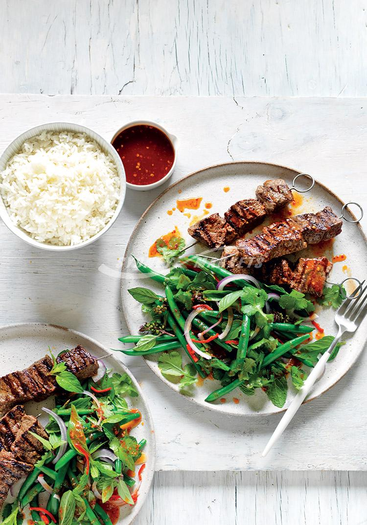 Asian herb, chilli & bean salad with beef skewers