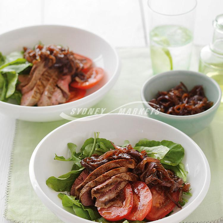 Balsamic red onion & lamb salad