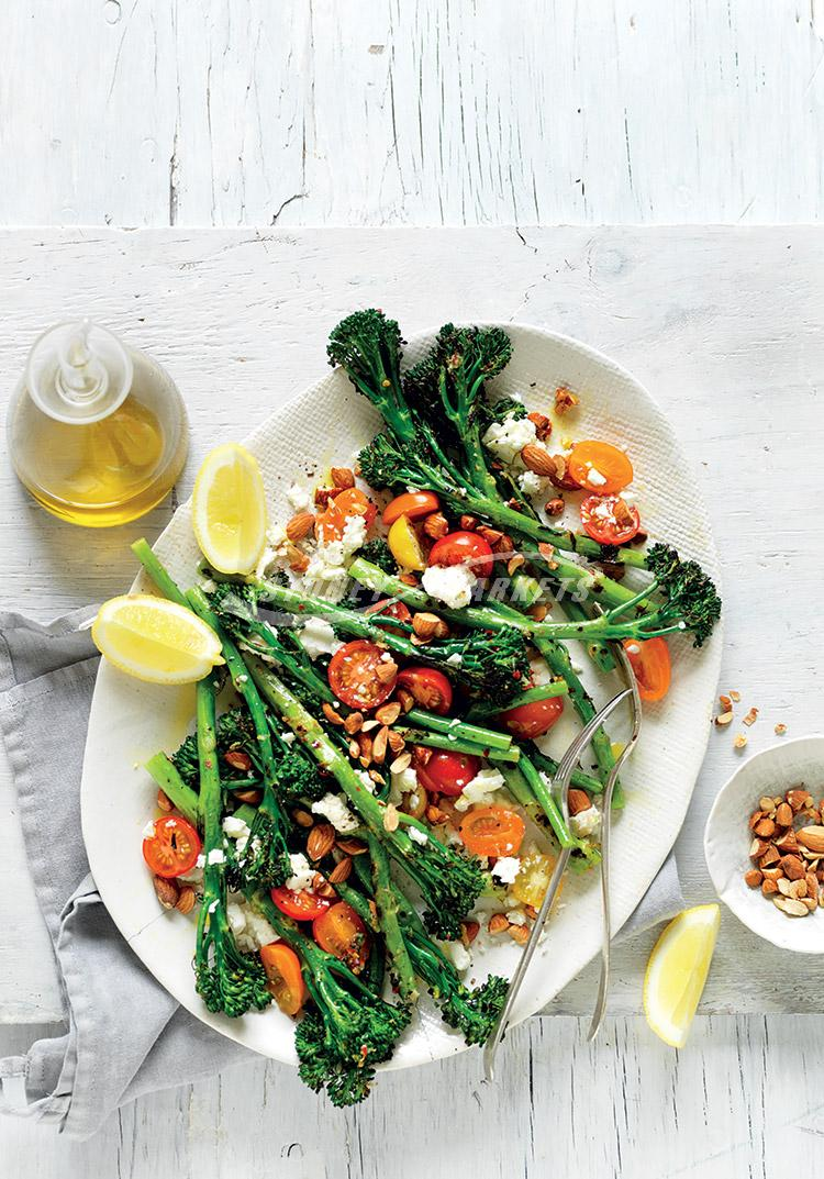 Barbecued broccolini with tomatoes & feta