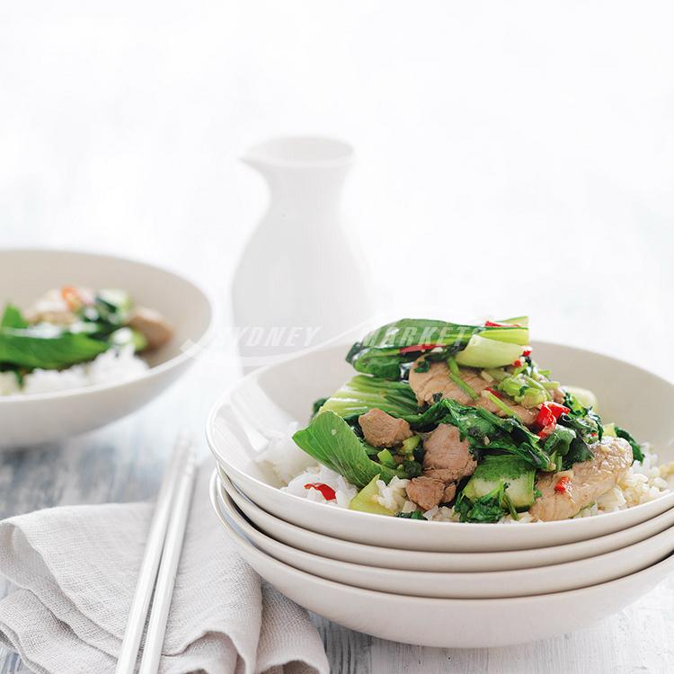 Bok choy & chilli pork stir-fry