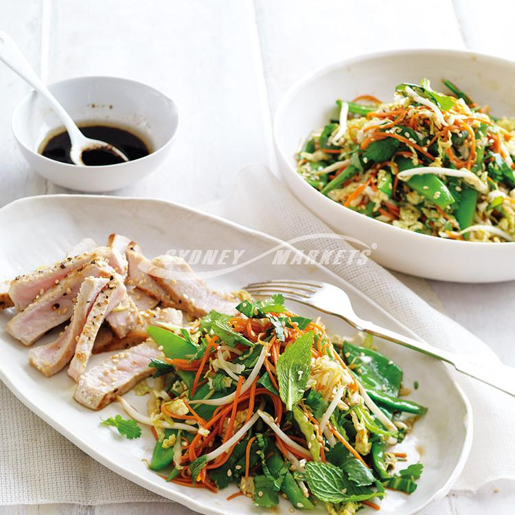 Bok choy & snow pea slaw with pork