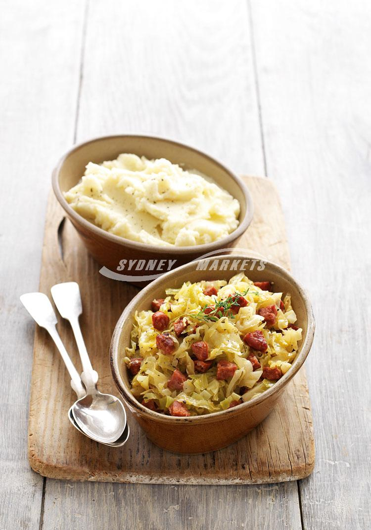 Braised cabbage with chorizo & creamy mashed potatoes