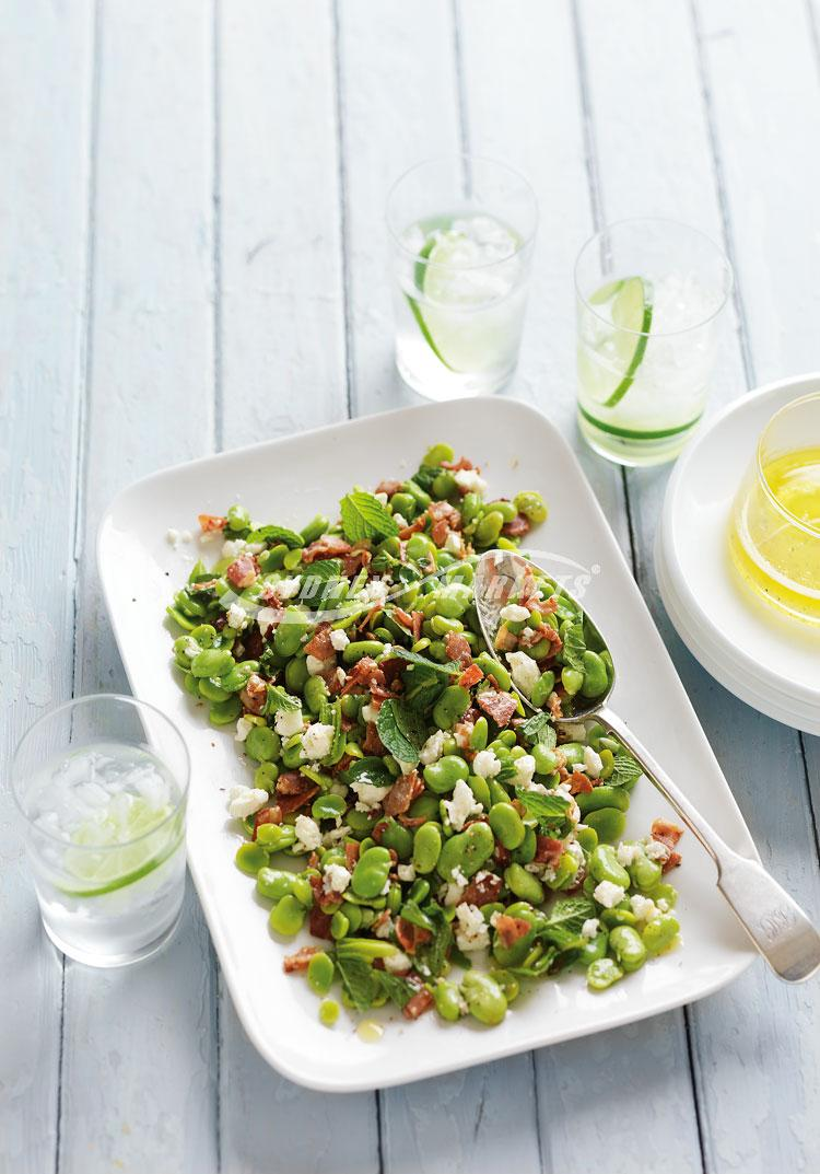 Broad beans with mint, feta & pancetta