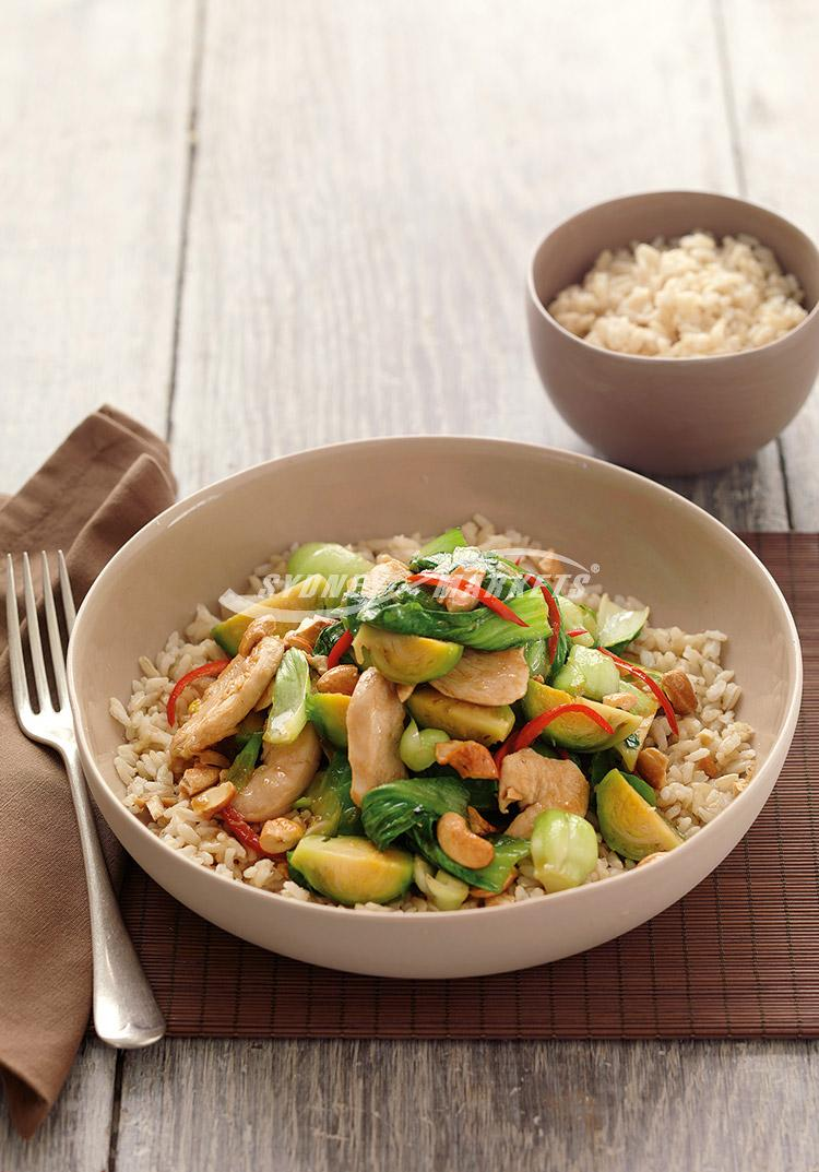 Brussels sprouts, bok choy & chicken stir-fry