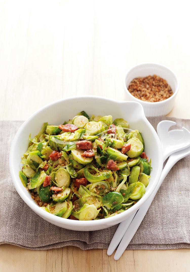 Brussels sprouts with chorizo & crispy breadcrumbs