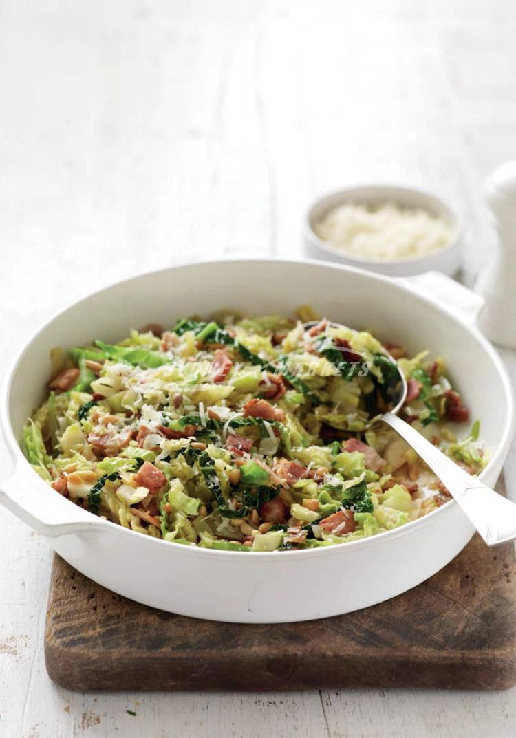 Cabbage & leeks with bacon & pine nuts