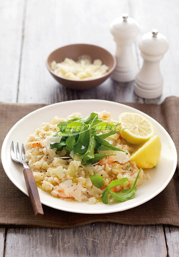 Fennel, lemon & prawn risotto with rocket