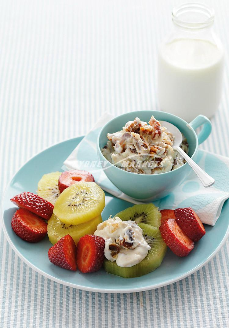 Fresh fruits with date, pecan & honey yoghurt