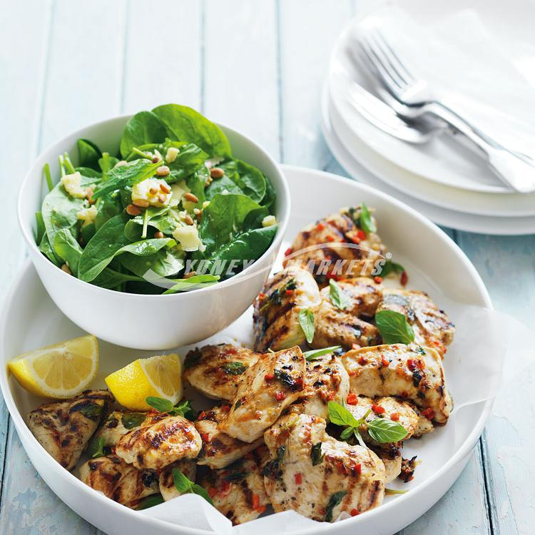 Garlic & chilli chicken with spinach salad
