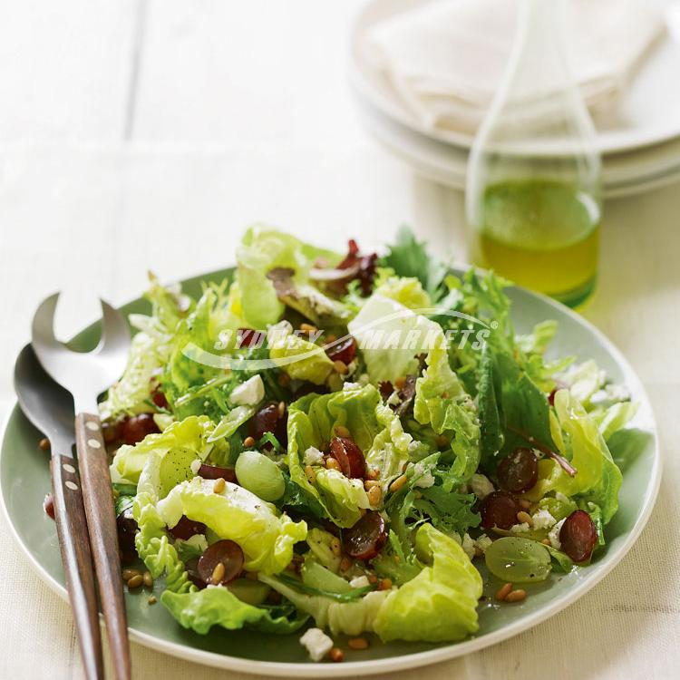 Grape, leafy greens & pine nut salad