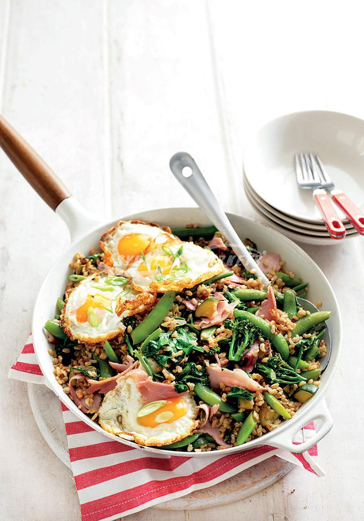 Green veggie fried rice with ham & eggs
