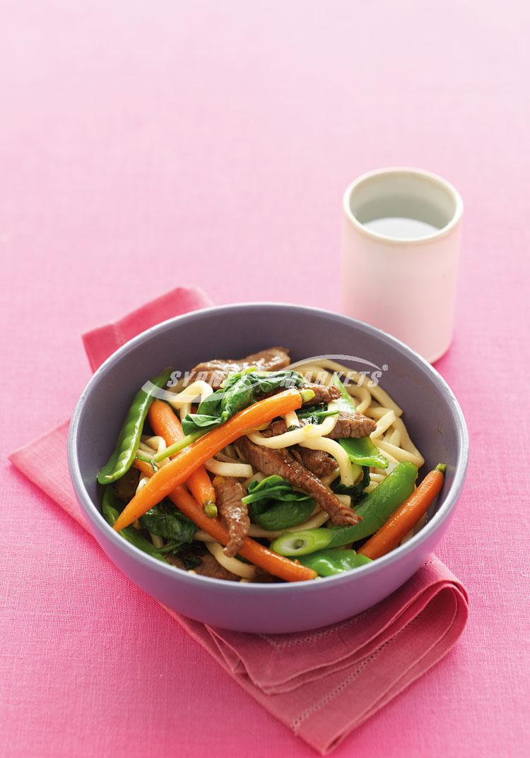 Honeyed carrot, beef & noodle stir-fry