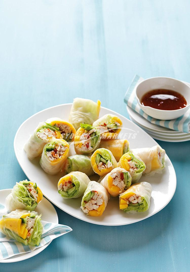 Mango, cucumber & chicken rice paper rolls