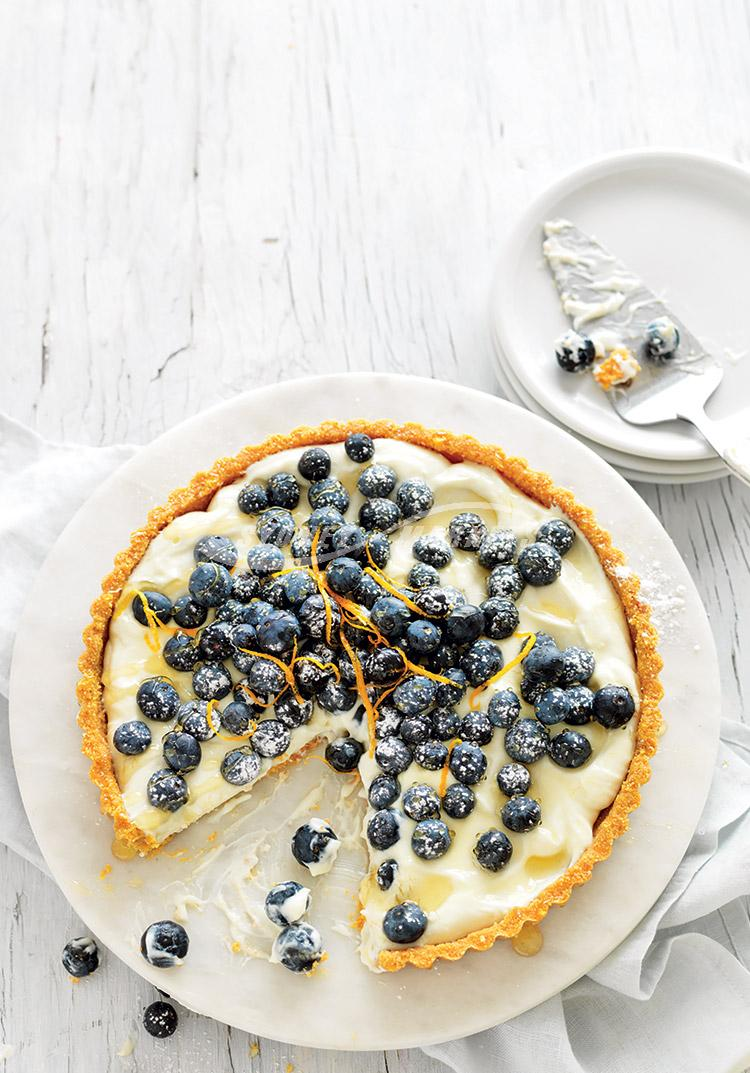 No-bake blueberry & sweet ricotta tart