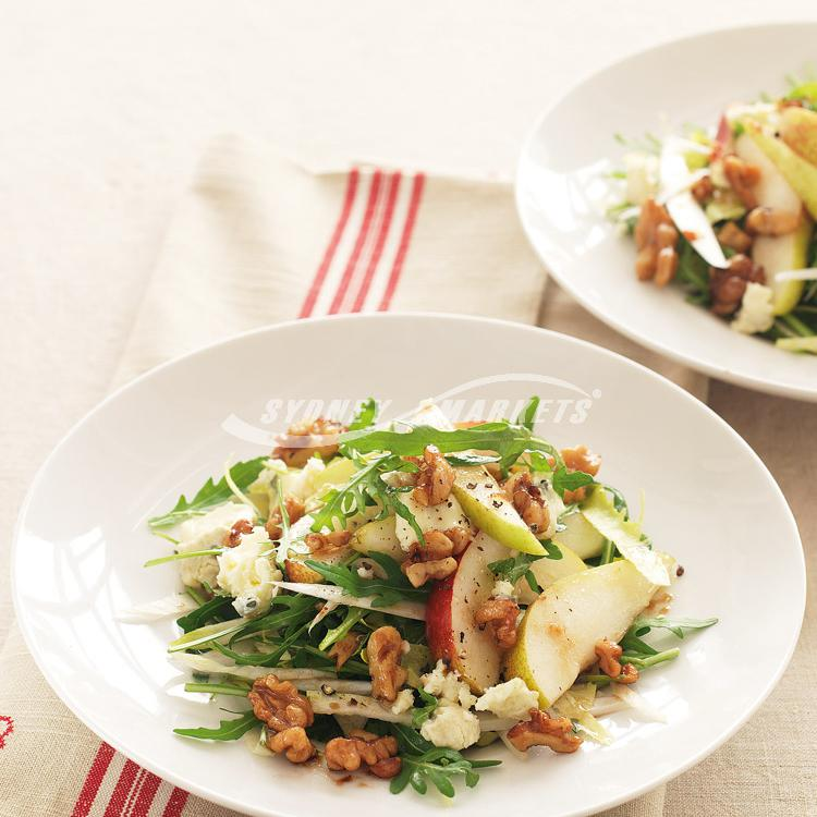 Pear, rocket & witlof salad with maple dressing