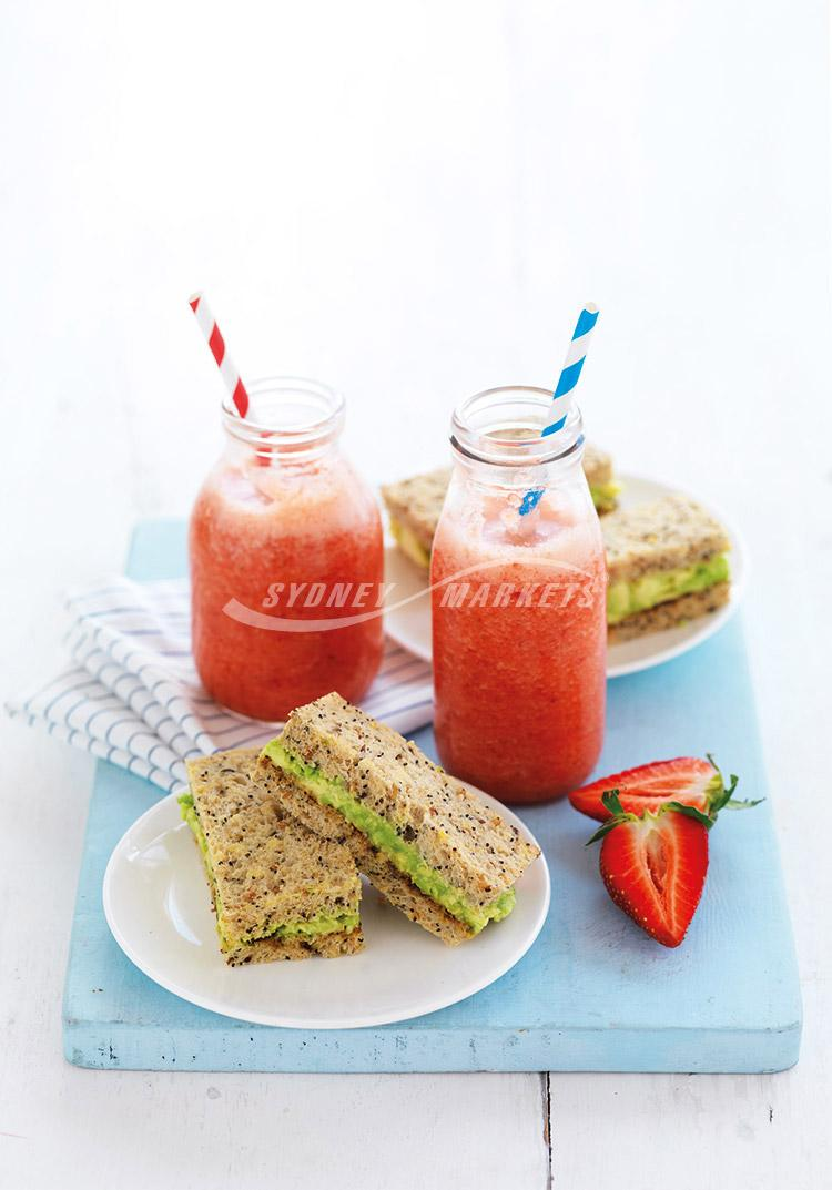 Pineapple & strawberry iced whip with avocado finger sandwiches