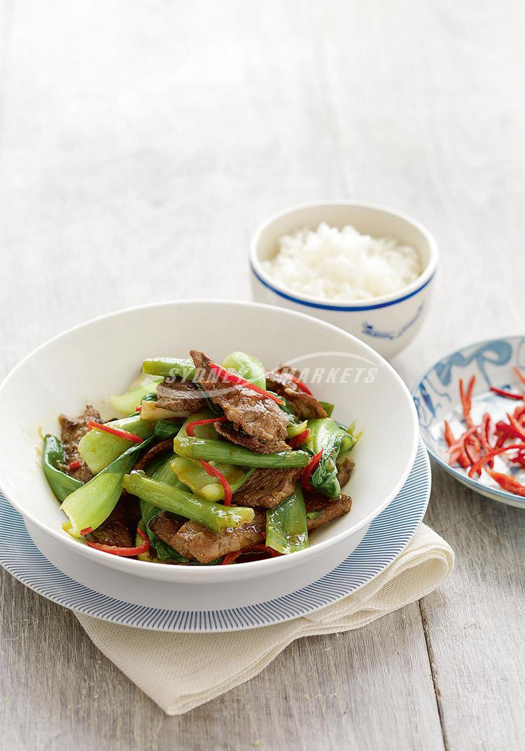 Red chilli beef with bok choy