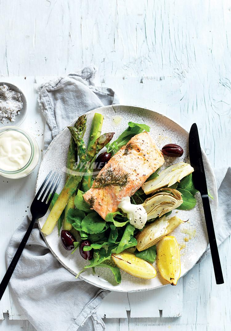 Roasted fennel, asparagus & salmon