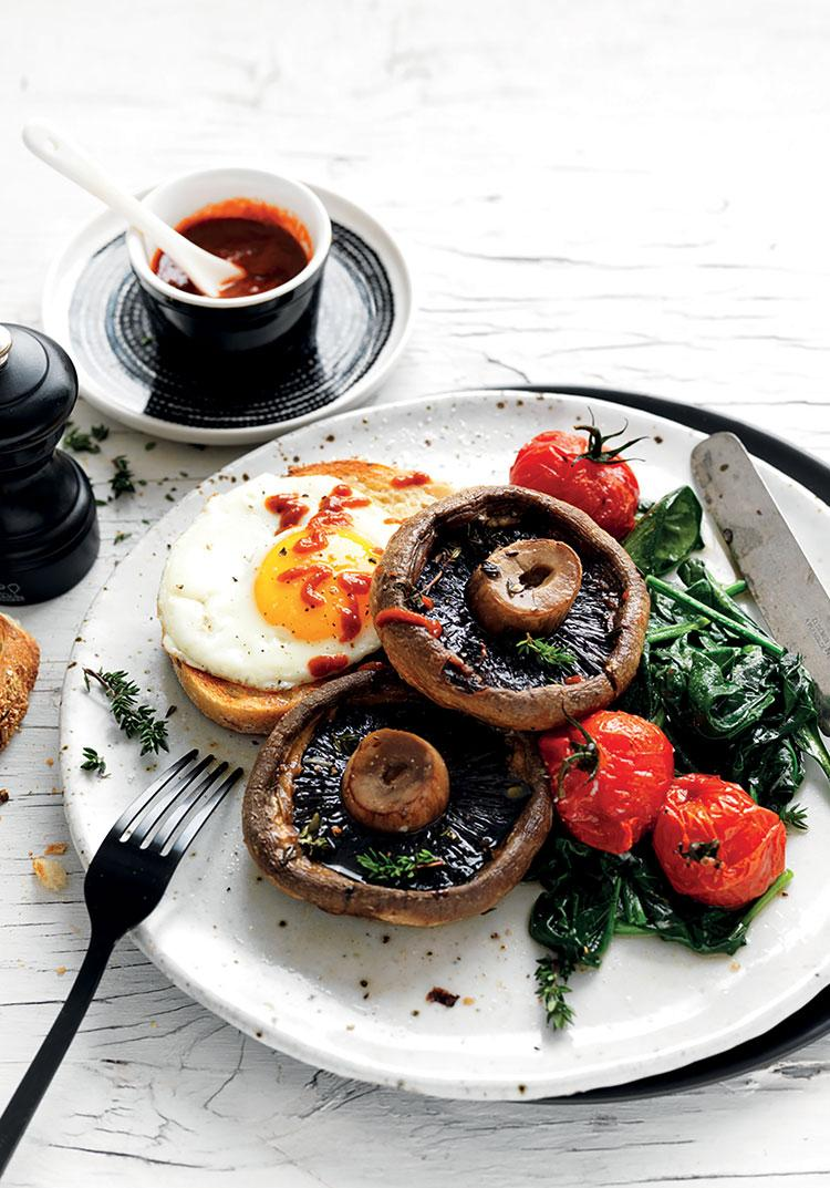 Roasted mushrooms with wilted spinach & eggs