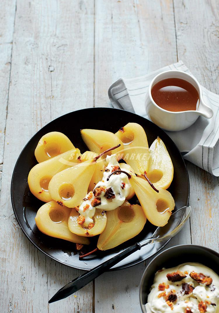Roasted pears with Florentine cream