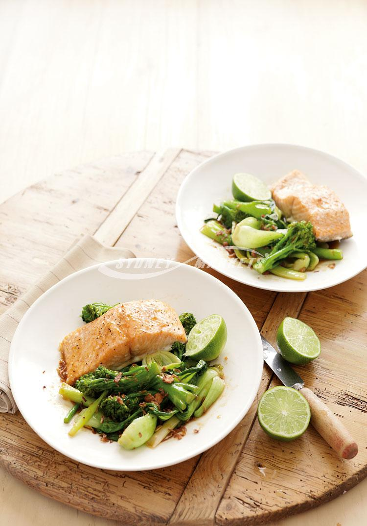 Soy & ginger wok-fried greens with roasted salmon