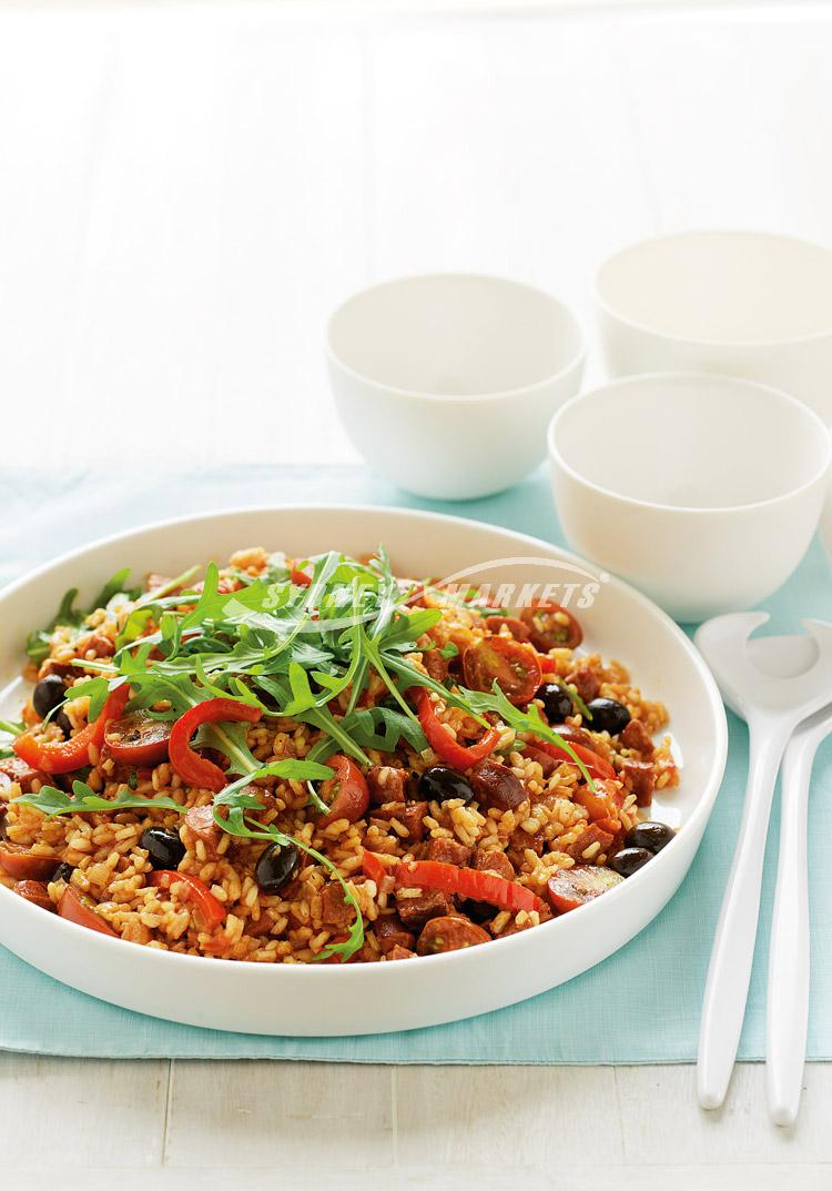 Spanish rice with rocket & cherry tomatoes