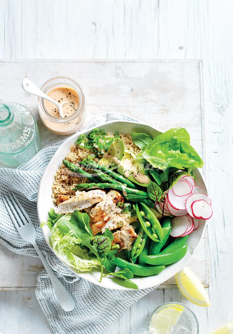 Spring greens & chicken couscous salad