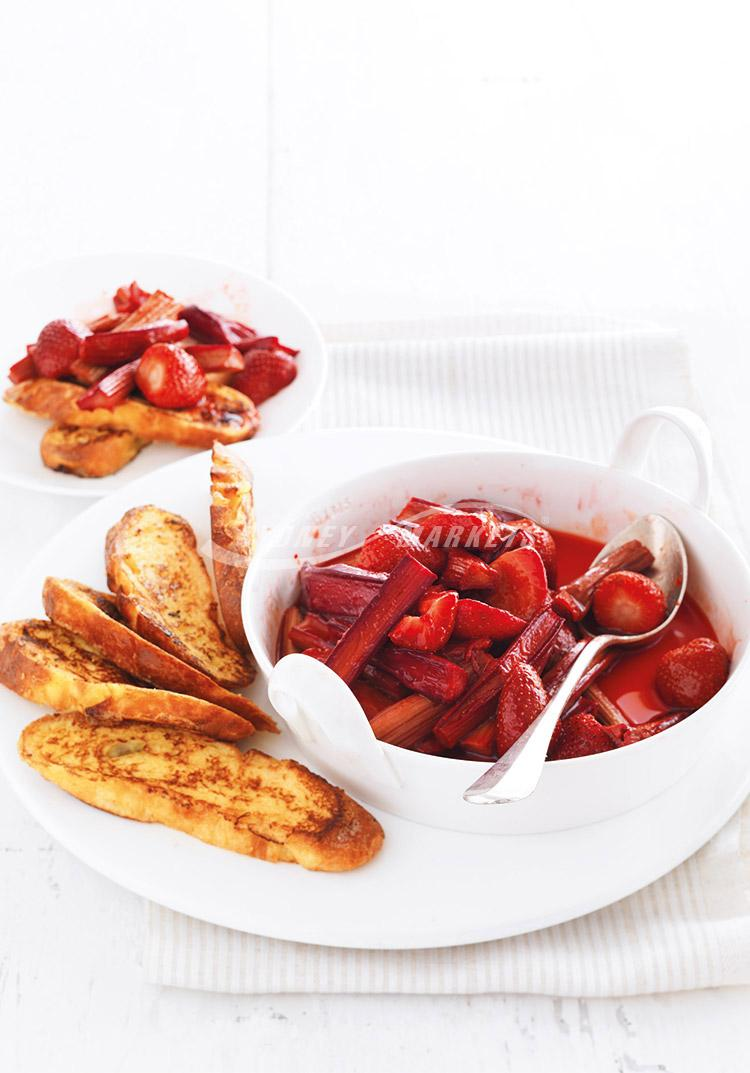 Strawberries & rhubarb with French toast