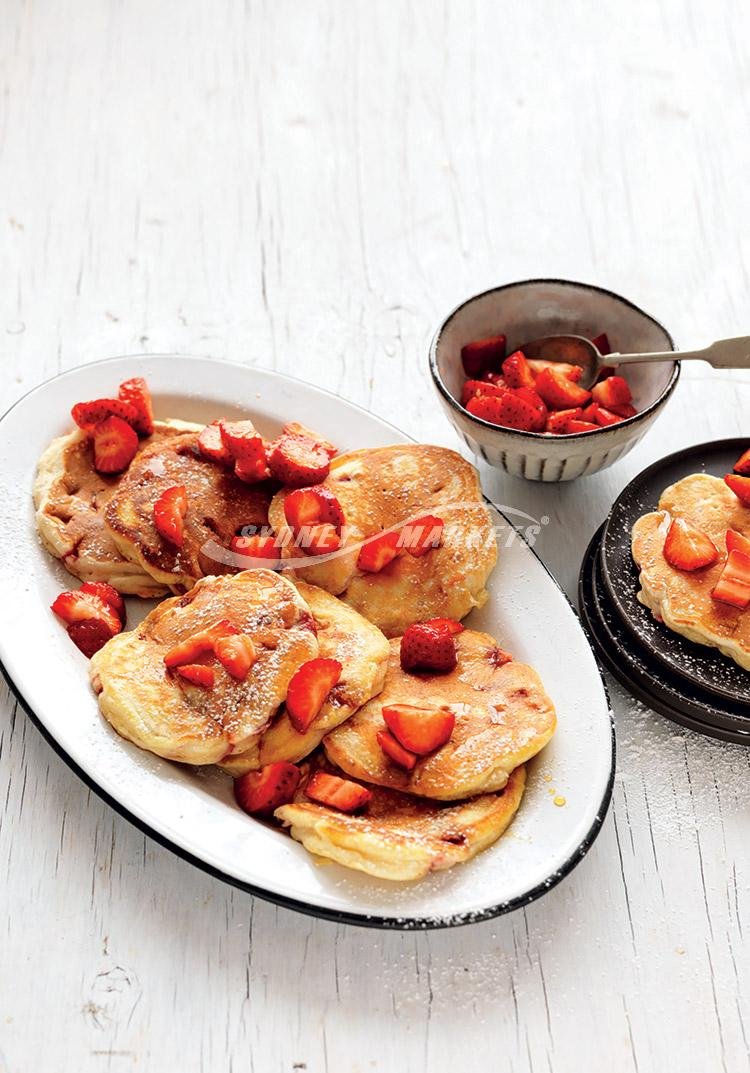 Strawberry salsa pancakes