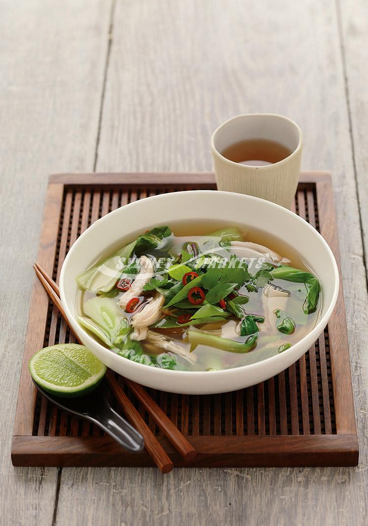 Vietnamese chicken soup with bok choy
