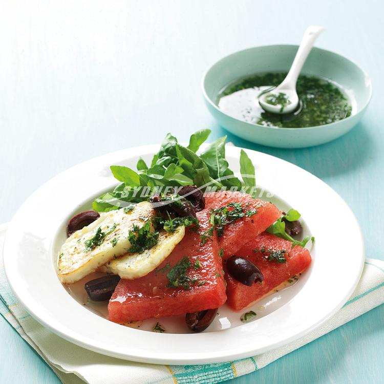 Watermelon, rocket & haloumi salad with mint dressing