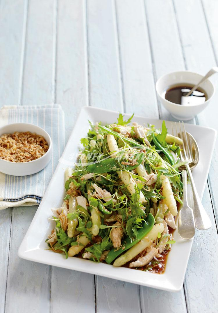 White asparagus & chicken salad with Japanese dressing