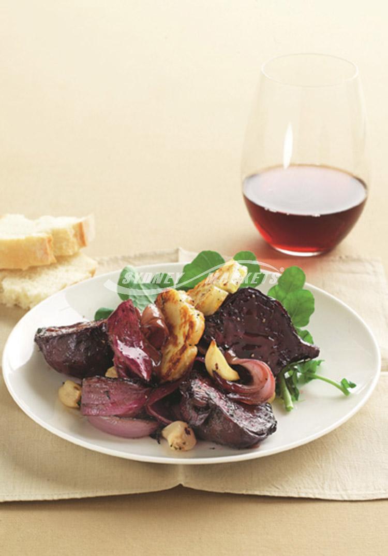 ... & Produce / Recipes / Garlic roast beet, red onion & haloumi salad