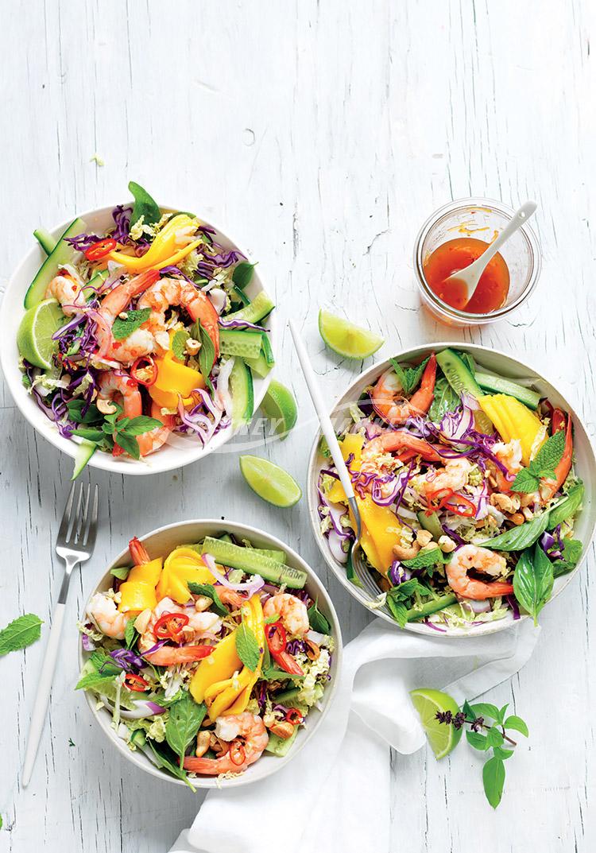 Sydney Markets Mango, cucumber & herb prawn salad