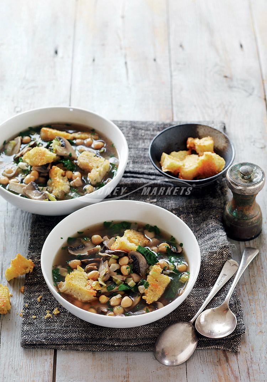 Sydney Markets - Mushroom, leek & chickpea soup with ...